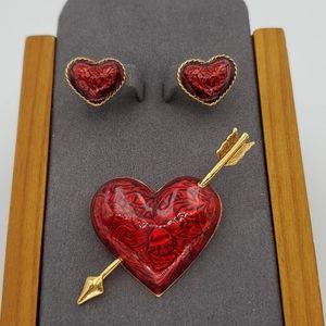 Avon Red Hearts Afire Brooch & Earrings Set